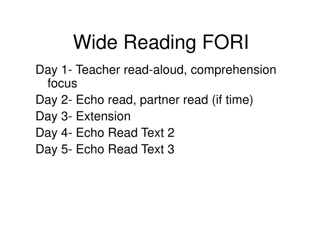 Wide Reading FORI