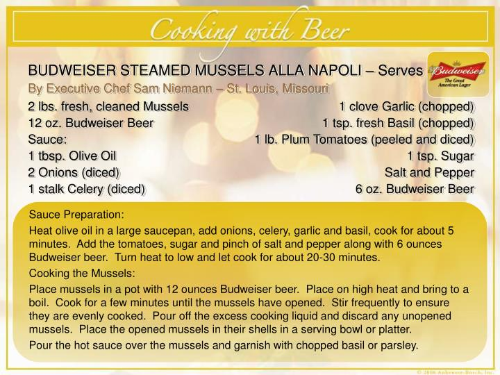 BUDWEISER STEAMED MUSSELS ALLA NAPOLI