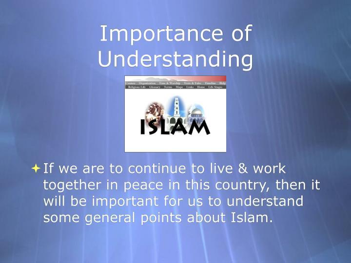 Importance of Understanding