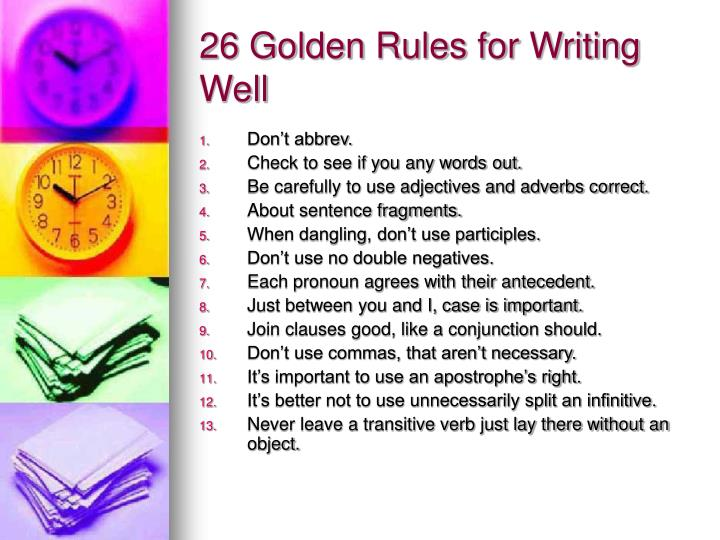 26 golden rules for writing well