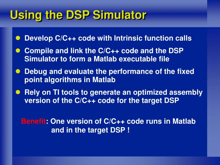 Using the DSP Simulator