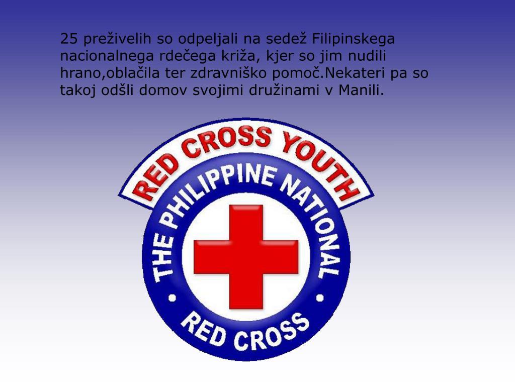 25 preživelih so odpeljali na sedež Filipinskega nacionalnega rdečega križa, kjer so jim nudili hrano,oblačila ter zdravniško pomoč.Nekateri pa so takoj odšli domov svojimi družinami v Manili.