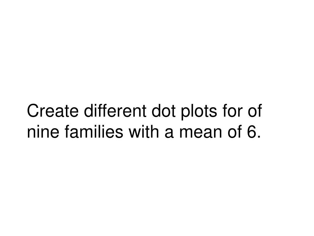 Create different dot plots for of nine families with a mean of 6.