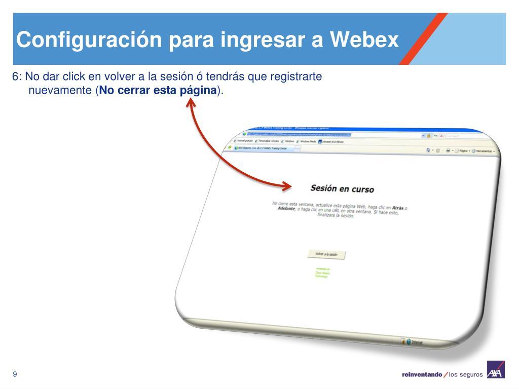 Configuración para ingresar a Webex