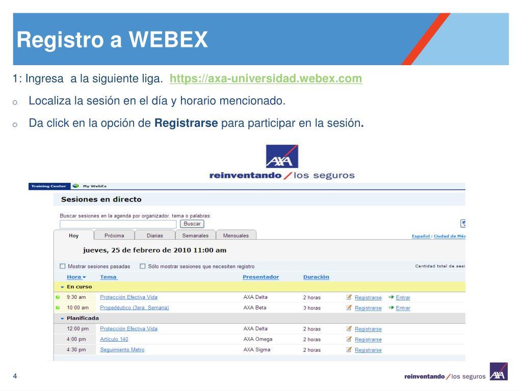 Registro a WEBEX