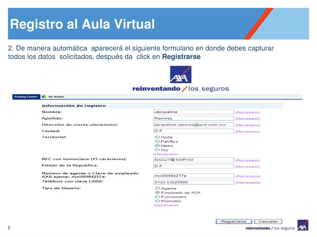 Registro al Aula Virtual