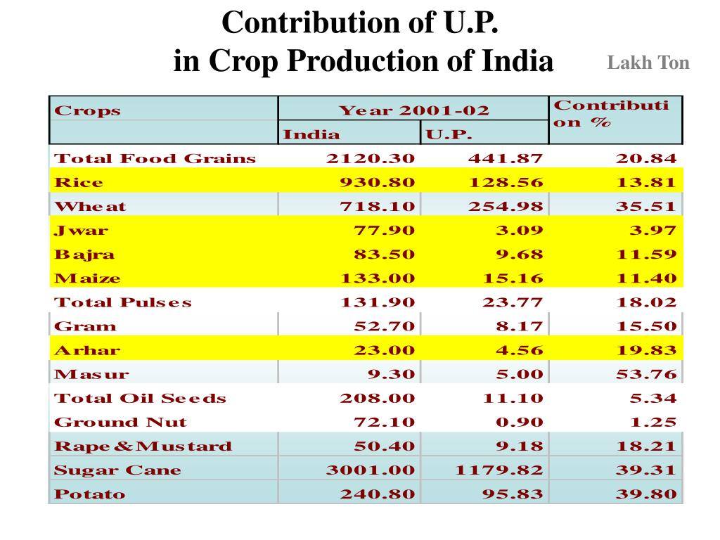 Contribution of U.P.