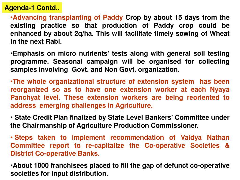 Agenda-1 Contd..