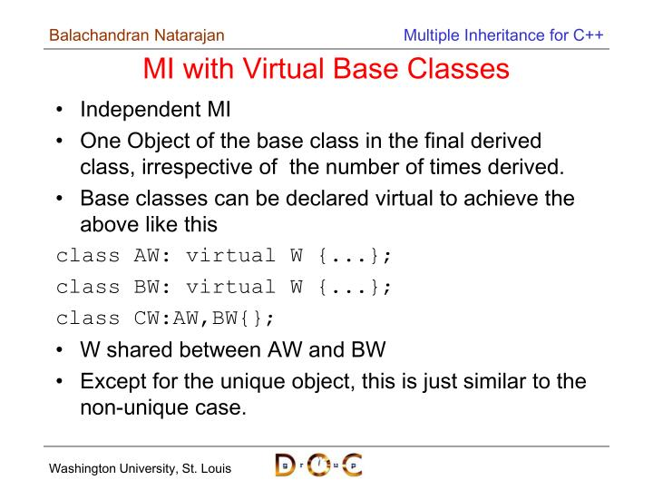 MI with Virtual Base Classes