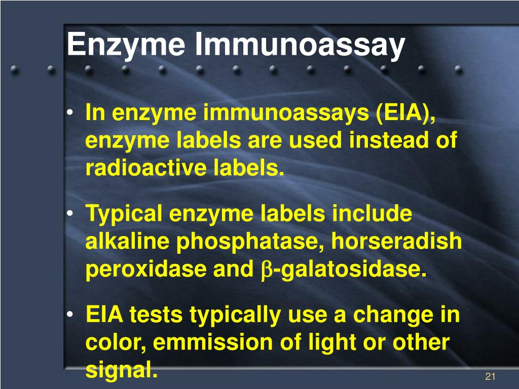enzym immuno essay An assay that uses an enzyme-bound antibody to detect antigen the enzyme catalyzes a color reaction when exposed to substrate.