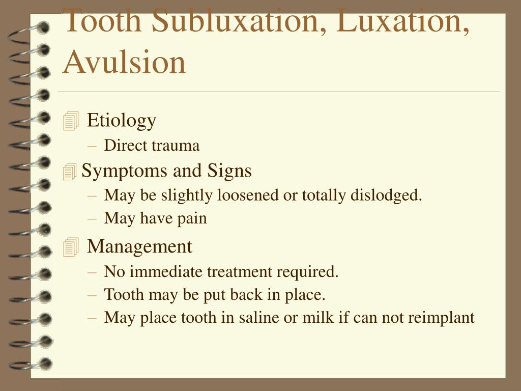 Tooth Subluxation, Luxation,  Avulsion