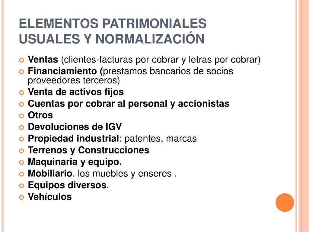 ELEMENTOS PATRIMONIALES USUALES Y NORMALIZACIÓN