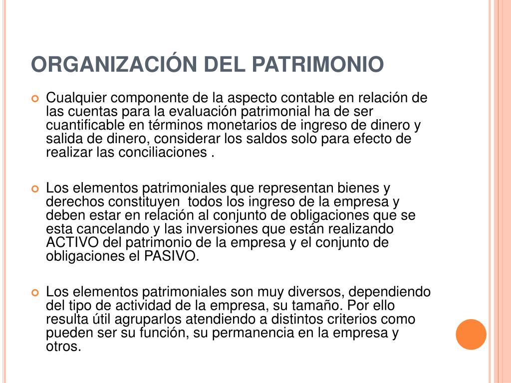 ORGANIZACIÓN DEL PATRIMONIO