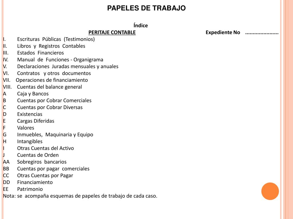 PAPELES DE TRABAJO