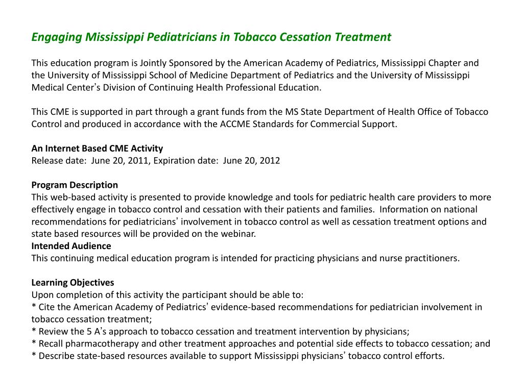 Engaging Mississippi Pediatricians in Tobacco Cessation Treatment