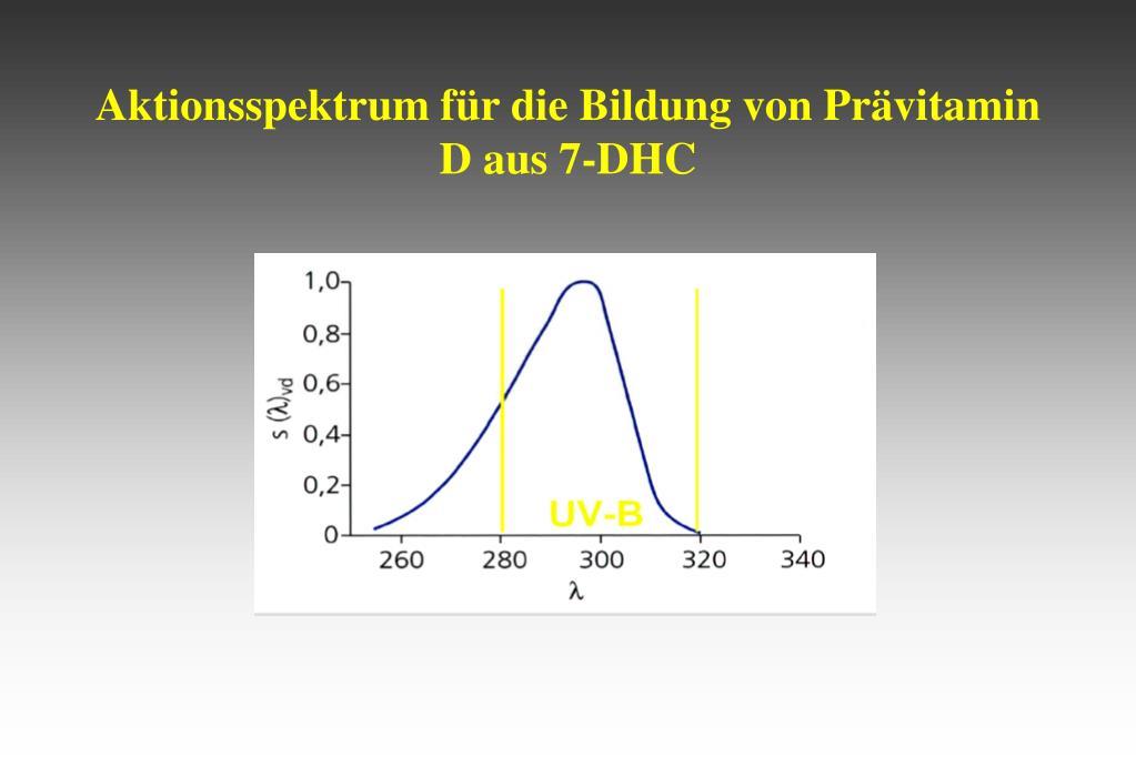 Aktionsspektrum für die Bildung von Prävitamin D aus 7-DHC
