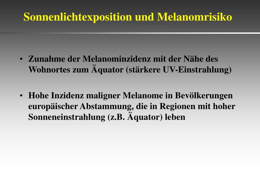 Sonnenlichtexposition und Melanomrisiko