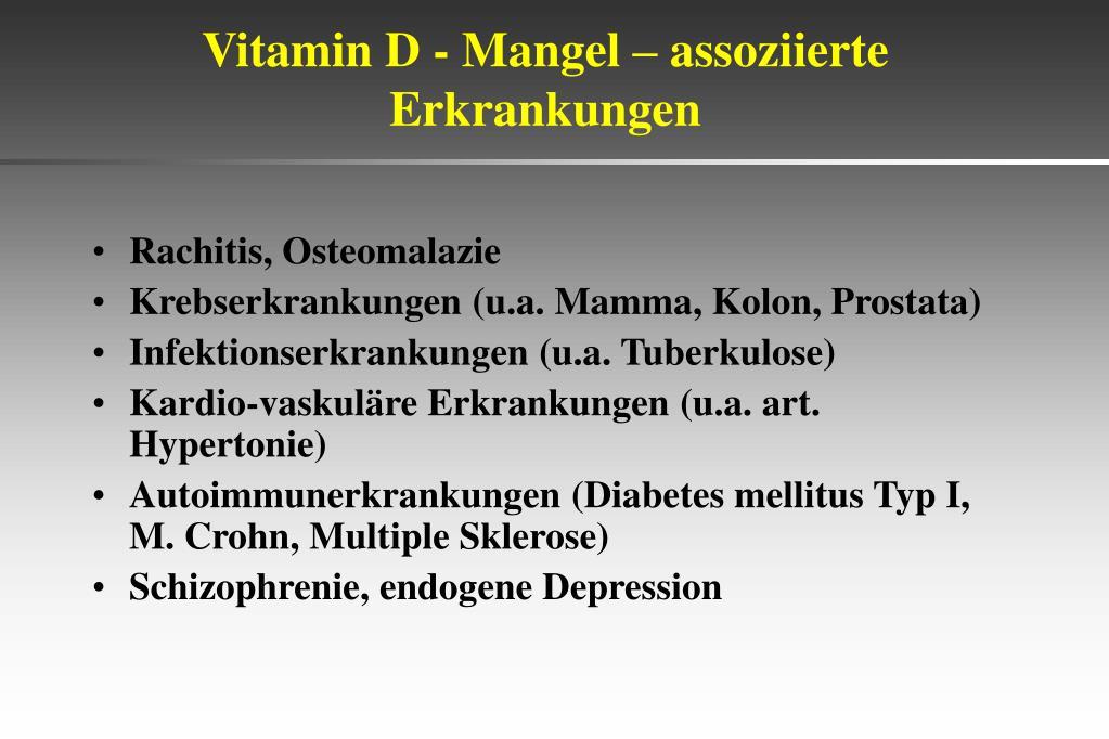 Vitamin D - Mangel – assoziierte Erkrankungen