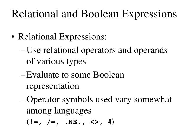 Relational and Boolean Expressions