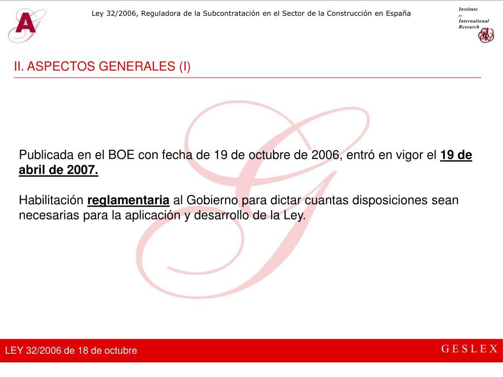 II. ASPECTOS GENERALES (I)