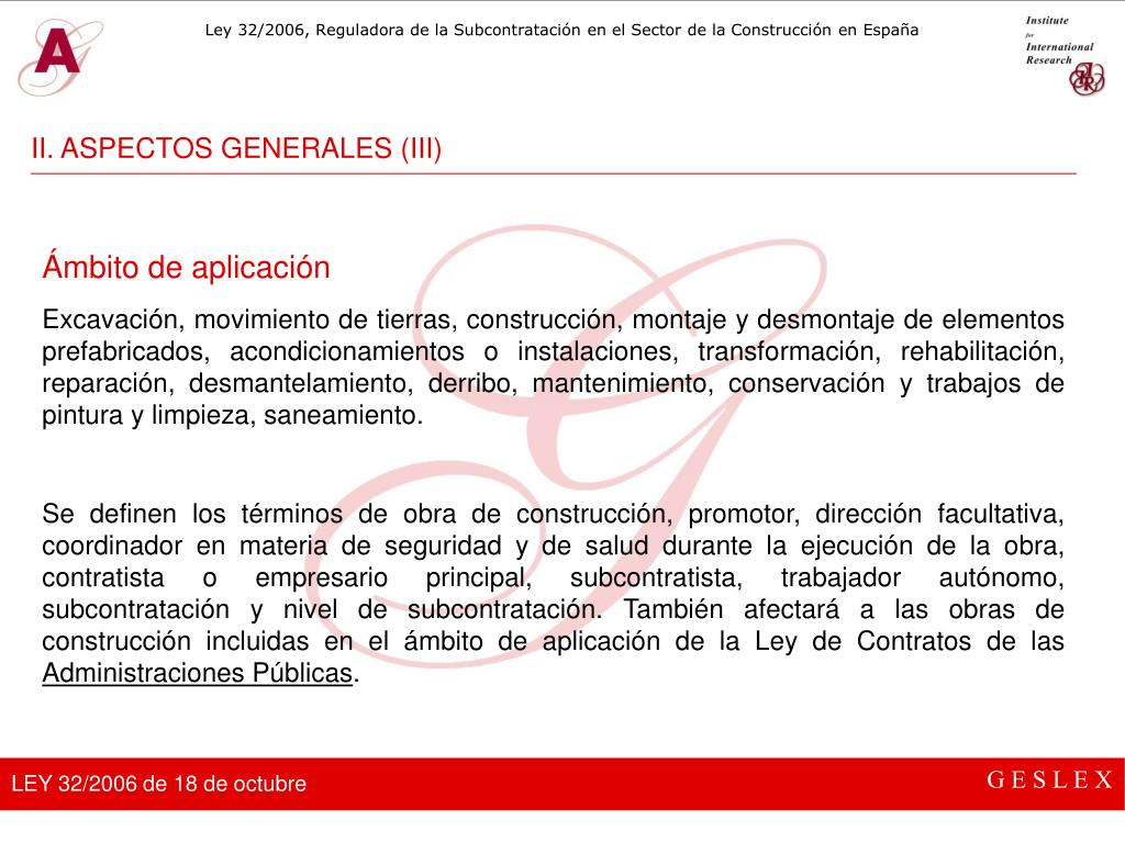 II. ASPECTOS GENERALES (III)