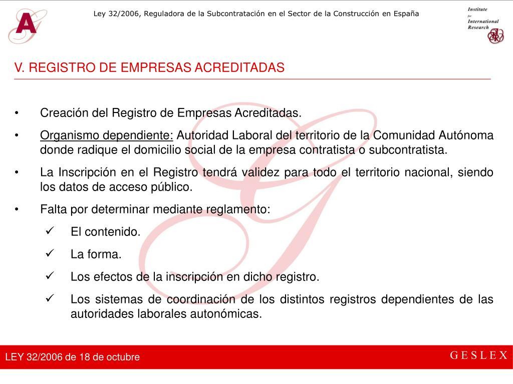 V. REGISTRO DE EMPRESAS ACREDITADAS