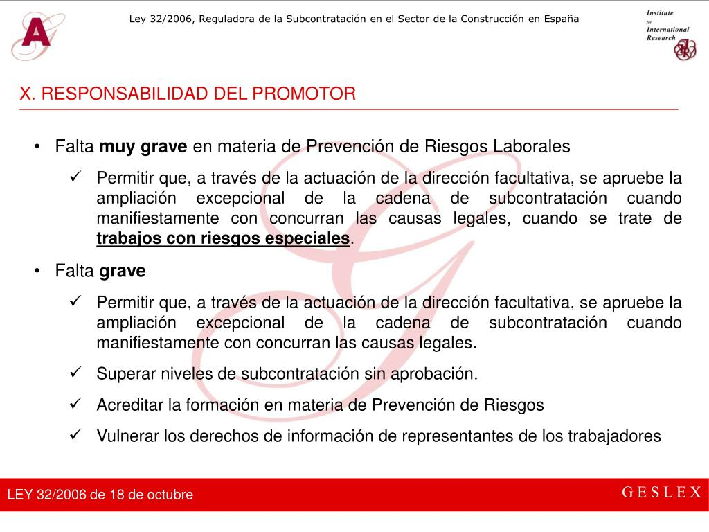 X. RESPONSABILIDAD DEL PROMOTOR