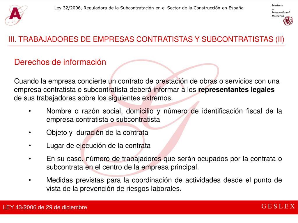 III. TRABAJADORES DE EMPRESAS CONTRATISTAS Y SUBCONTRATISTAS (II)