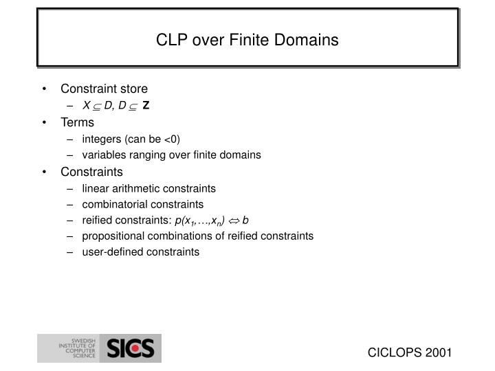 CLP over Finite Domains
