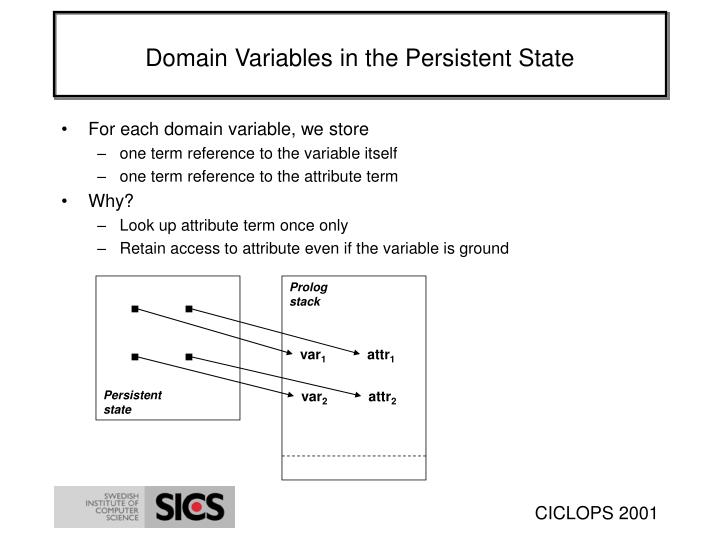 Domain Variables in the Persistent State