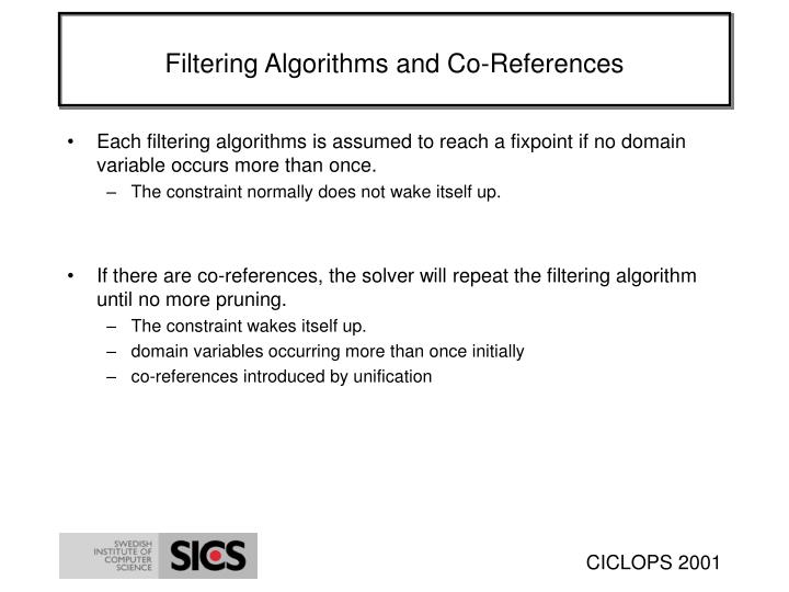 Filtering Algorithms and Co-References