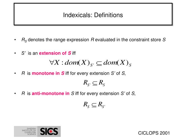 Indexicals: Definitions