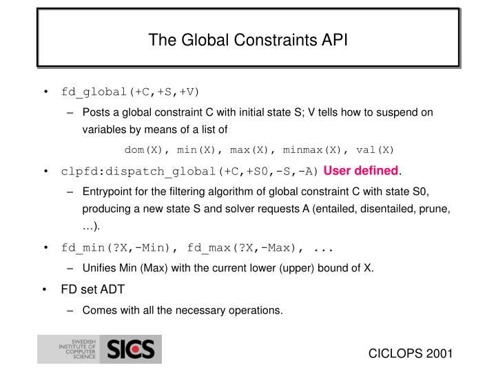 The Global Constraints API