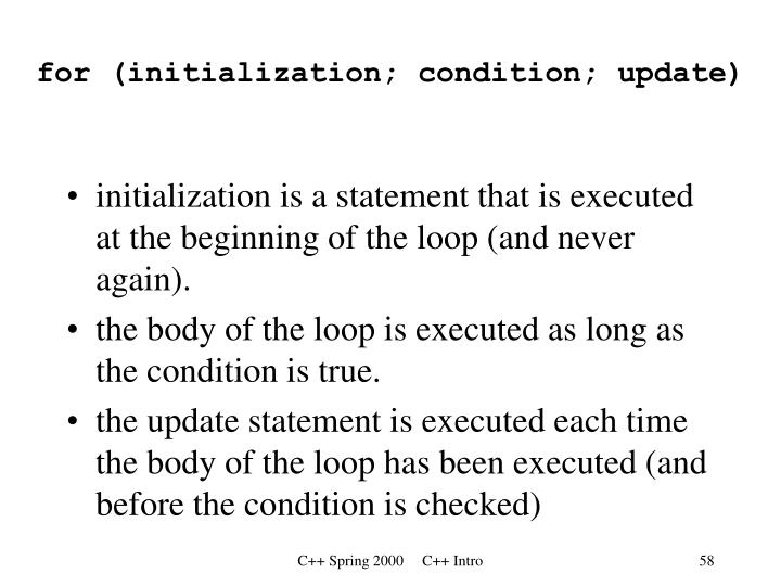 for (initialization; condition; update)