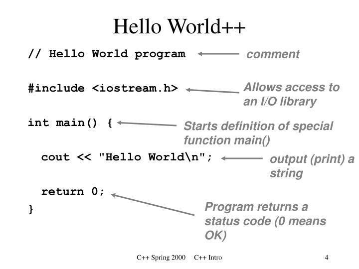 Hello World++