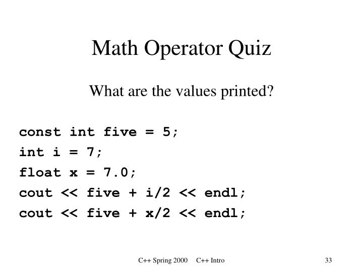 Math Operator Quiz