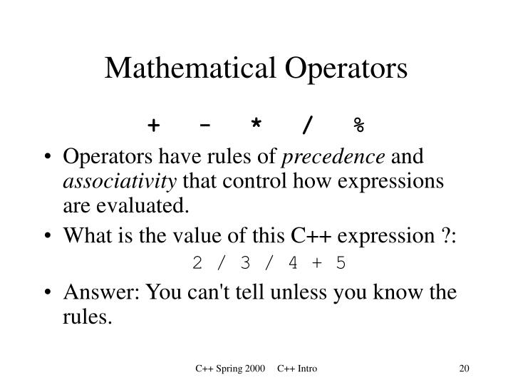 Mathematical Operators