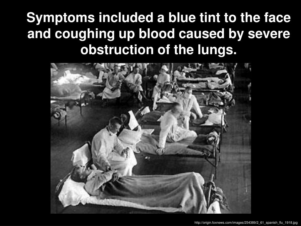 Symptoms included a blue tint to the face and coughing up blood caused by severe obstruction of the lungs.