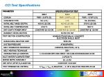 cci test specifications