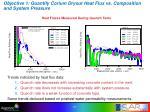 objective 1 quantify corium dryout heat flux vs composition and system pressure