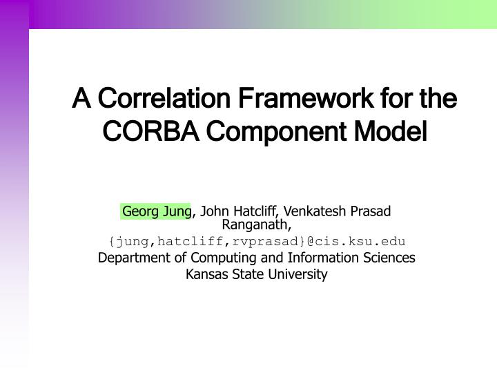 a correlation framework for the corba component model