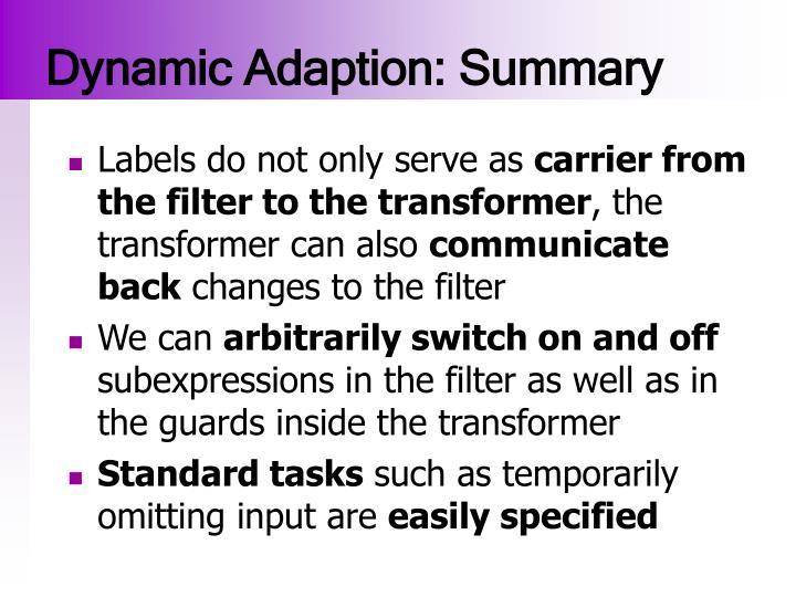 Dynamic Adaption: Summary