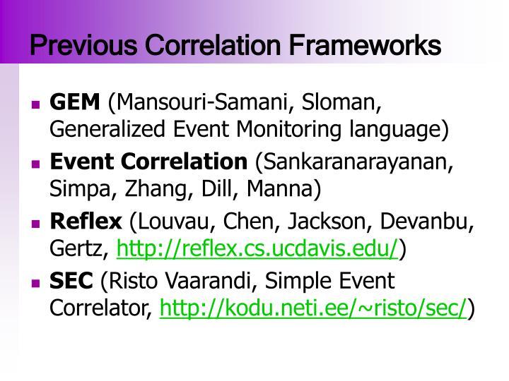 Previous Correlation Frameworks