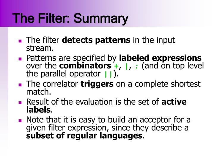 The Filter: Summary