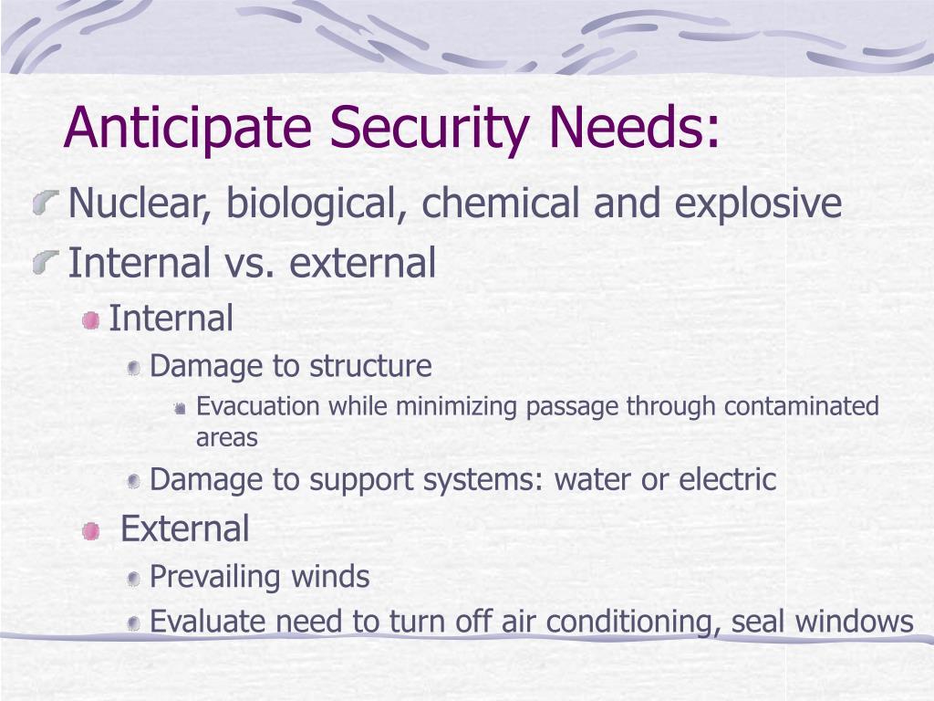 Anticipate Security Needs:
