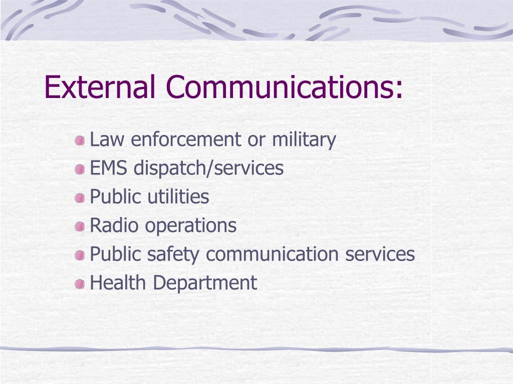 External Communications: