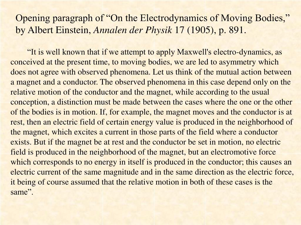 "Opening paragraph of ""On the Electrodynamics of Moving Bodies,"" by Albert Einstein,"