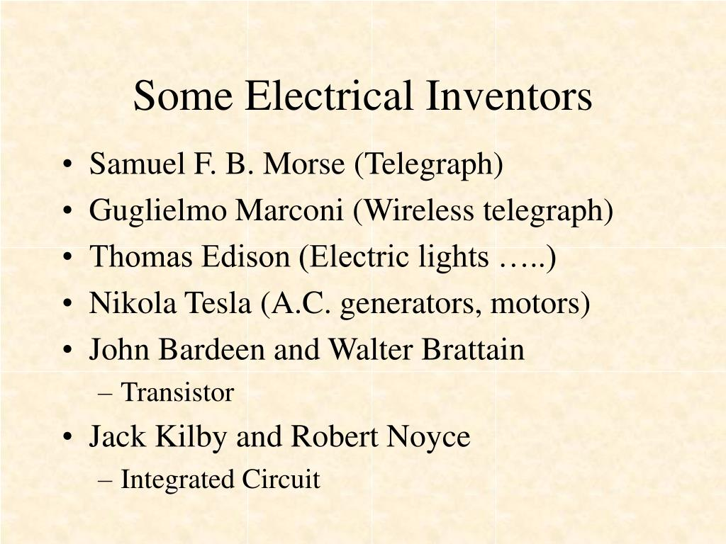 Some Electrical Inventors