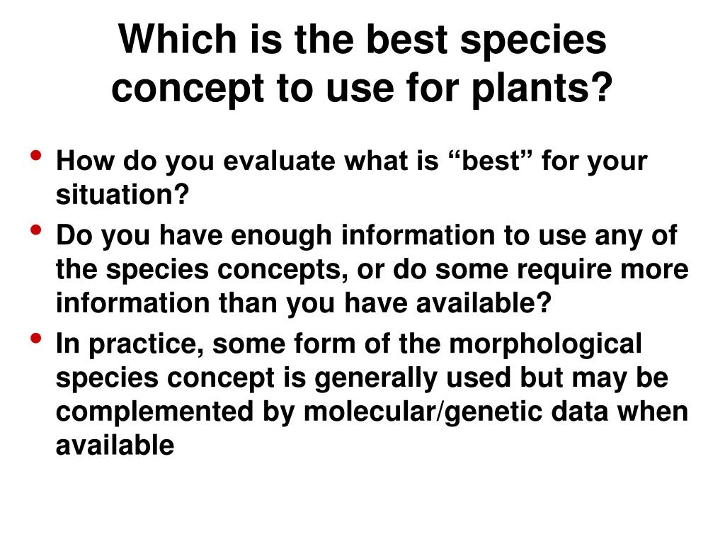 Which is the best species concept to use for plants?