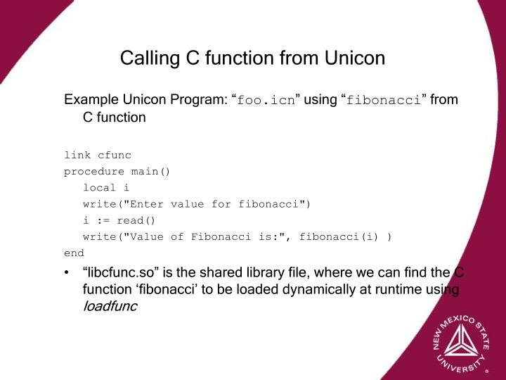 Calling C function from Unicon